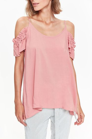 Top Secret pink casual with easy cut women`s blouse both shoulders cut out with ruffled sleeves airy fabric