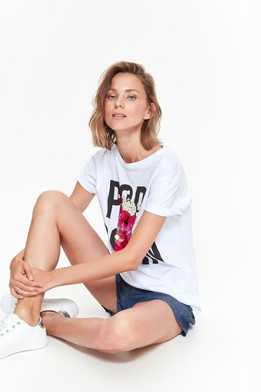 Top Secret white t-shirt casual with easy cut elastic cotton with sequin embellished details