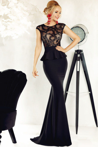 Fofy black occasional mermaid dress with frilled waist with crystal embellished details