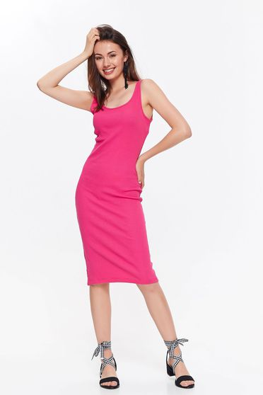 Top Secret pink casual with tented cut dress elastic cotton with rounded cleavage