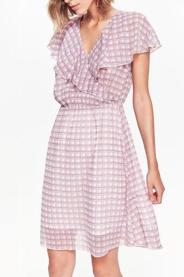 Top Secret pink casual elegant flaring cut dress ruffled collar transparent chiffon fabric