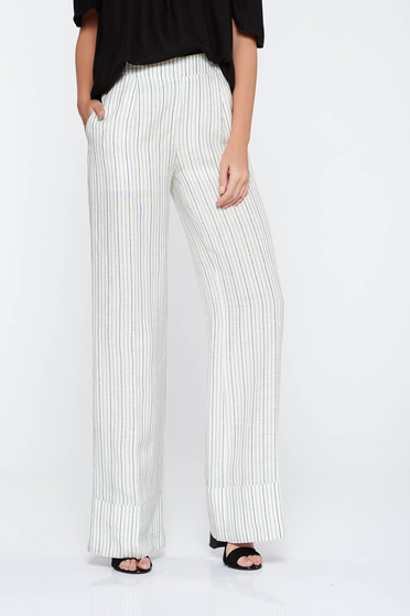 PrettyGirl white casual trousers flaring cut nonelastic fabric high waisted with pockets
