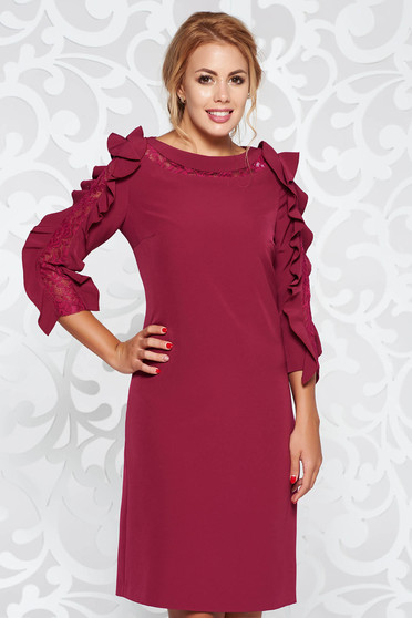 Purple elegant straight dress from non elastic fabric with ruffled sleeves