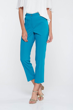 Turquoise office trousers slightly elastic fabric with medium waist