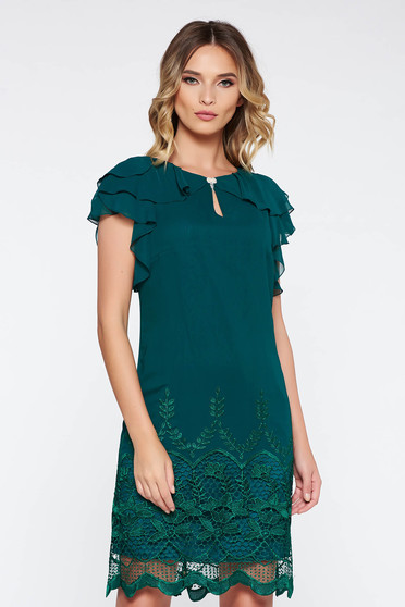 Darkgreen occasional straight dress with inside lining with lace details with ruffle details airy fabric