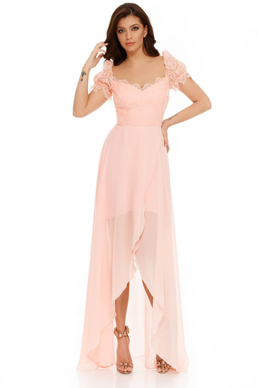 Peach occasional asymmetrical dress voile fabric from laced fabric with inside lining