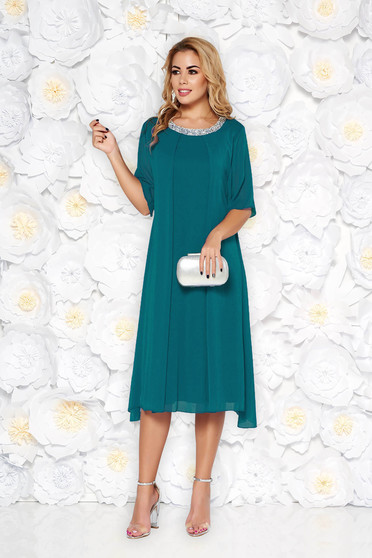Turquoise occasional flared dress airy fabric with inside lining with bright details