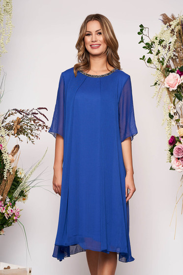 Blue occasional flared dress airy fabric with inside lining with bright details