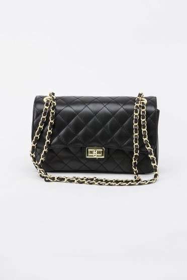 Black bag natural leather long chain handle