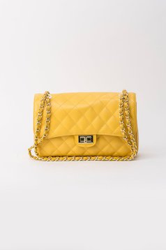 Yellow bag natural leather long chain handle