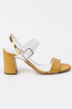 Yellow sandals elegant natural leather chunky heel with thin straps