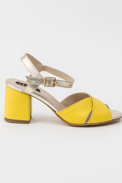 Yellow sandals office natural leather chunky heel metallic buckle