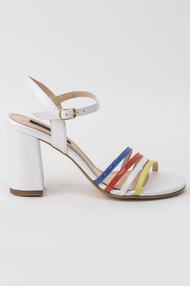 White sandals elegant chunky heel with high heels with thin straps natural leather