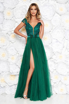 Artista green occasional from tulle dress with inside lining with push-up cups with floral details with 3d effect