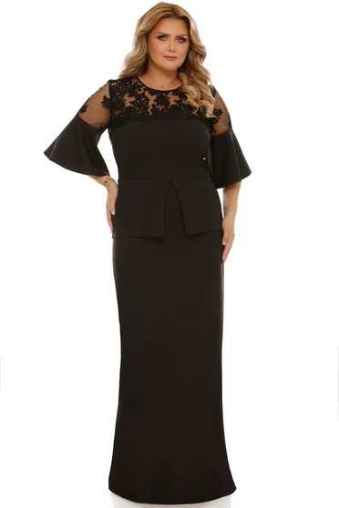 Black occasional dress with tented cut slightly elastic fabric with ruffled sleeves