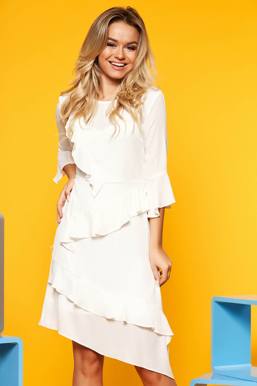 White elegant asymmetrical a-line dress voile fabric with ruffle details