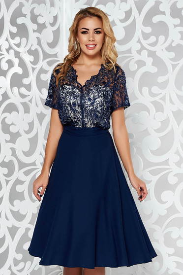 Darkblue occasional cloche dress voile fabric net with small beads embellished details