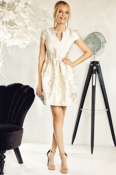 Fofy cream occasional cloche dress from jacquard short sleeves