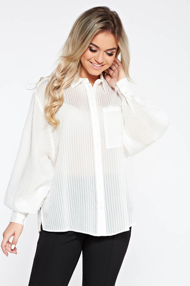 StarShinerS white casual flared women`s shirt with puffed sleeves transparent chiffon fabric
