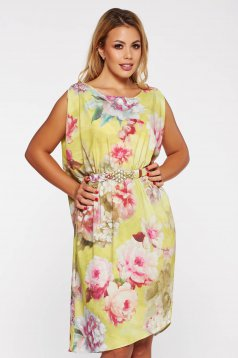 PrettyGirl yellow elegant flared dress from satin fabric texture with floral prints accessorized with tied waistband
