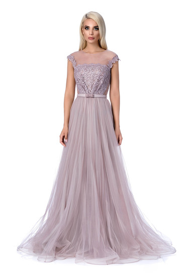 Ana Radu grey occasional cloche dress transparent fabric net