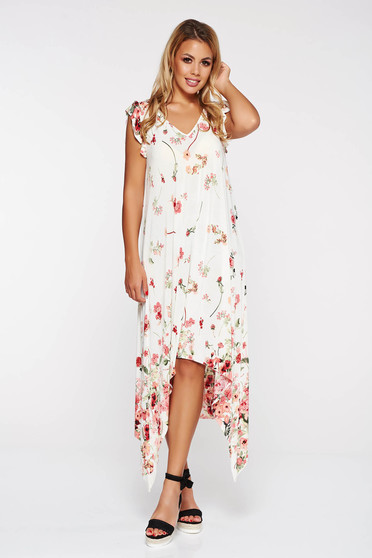 StarShinerS white asymmetrical beach wear dress with easy cut with floral prints