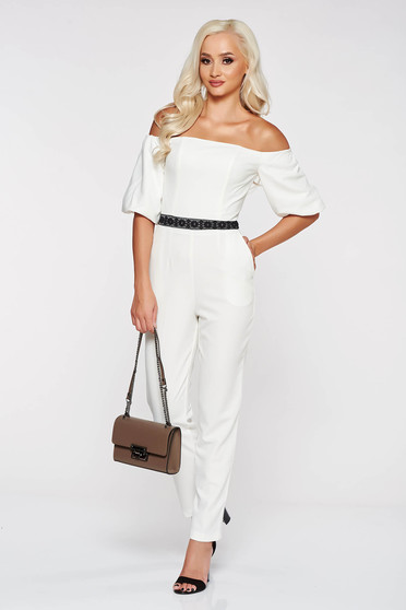 StarShinerS white elegant on the shoulders jumpsuit slightly elastic fabric with tented cut with lace details