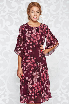 Purple occasional flared dress transparent fabric with floral prints