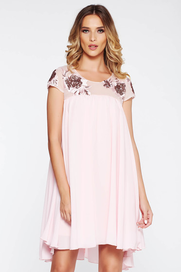 StarShinerS rosa occasional flared dress with inside lining voile fabric lace and sequins details