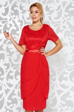 Red occasional midi dress from laced fabric with ruffle details