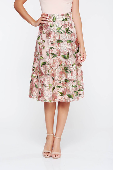 StarShinerS rosa skirt elegant cloche from tulle embroidered with inside lining