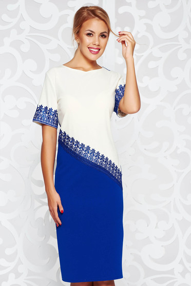 Blue elegant dress with straight cut from elastic fabric knitted lace