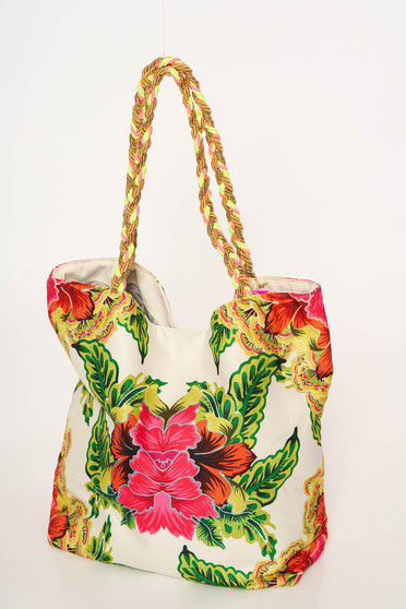 Cosita Linda white bag beach wear woven straps with floral prints