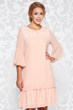 Peach elegant with easy cut dress from veil fabric embroidered with inside lining with ruffle details
