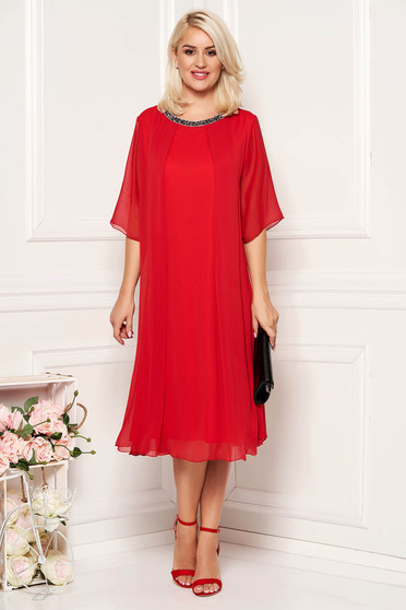 Red occasional flared dress airy fabric with inside lining with bright details