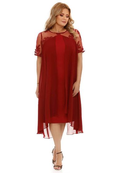 Burgundy flared occasional dress voile fabric with inside lining from laced fabric