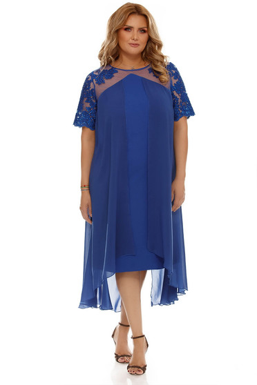 Blue flared occasional dress voile fabric with inside lining from laced fabric
