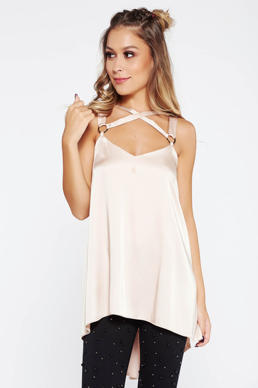 Nude clubbing top shirt with inside lining from satin fabric texture with easy cut asymmetrical
