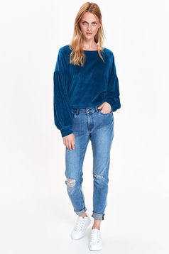 Top Secret blue casual flared velvet sweater with puffed sleeves