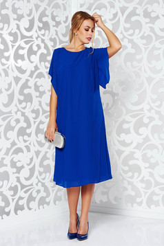 Blue elegant flared dress voile fabric with inside lining large sleeves