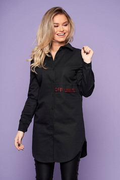 Black women`s shirt casual flared embroidered asymmetrical long sleeved