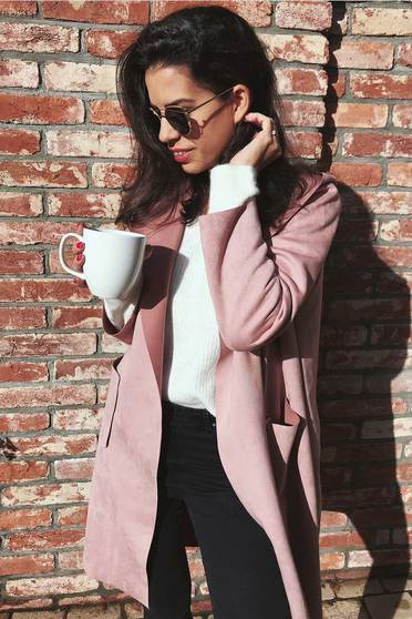 Rosa casual flared long trenchcoat from velvet fabric