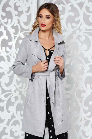 Grey SunShine casual trenchcoat from velvet fabric accessorized with tied waistband