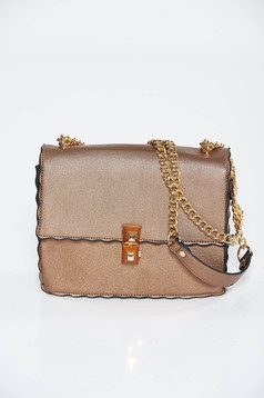 Brown casual bag from ecological leather long chain handle