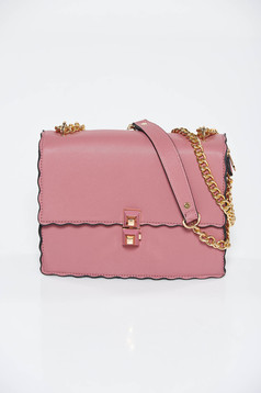 Purple casual bag from ecological leather long chain handle