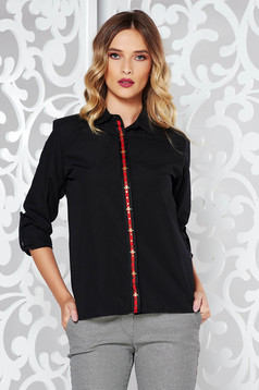Black cotton flared women`s shirt long sleeved