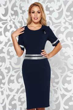 Darkblue elegant dress with tented cut slightly elastic fabric with bright details