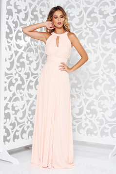 LaDonna peach occasional cloche dress from veil fabric with inside lining with push-up cups