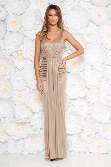 Gold occasional long mermaid dress from shiny fabric with deep cleavage