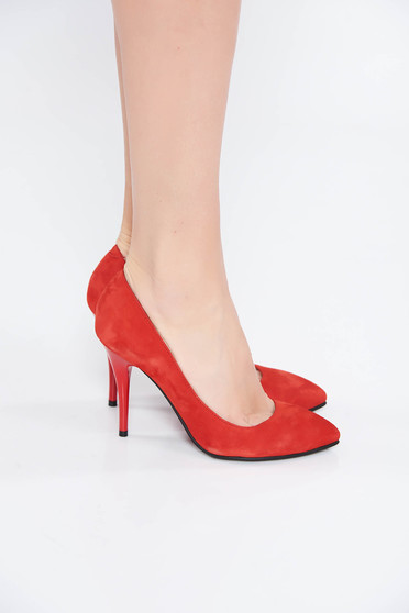 Red office shoes natural leather slightly pointed toe tip with high heels
